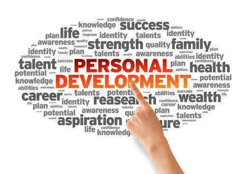 Hand pointing at a Personal Development Word Cloud on white background.
